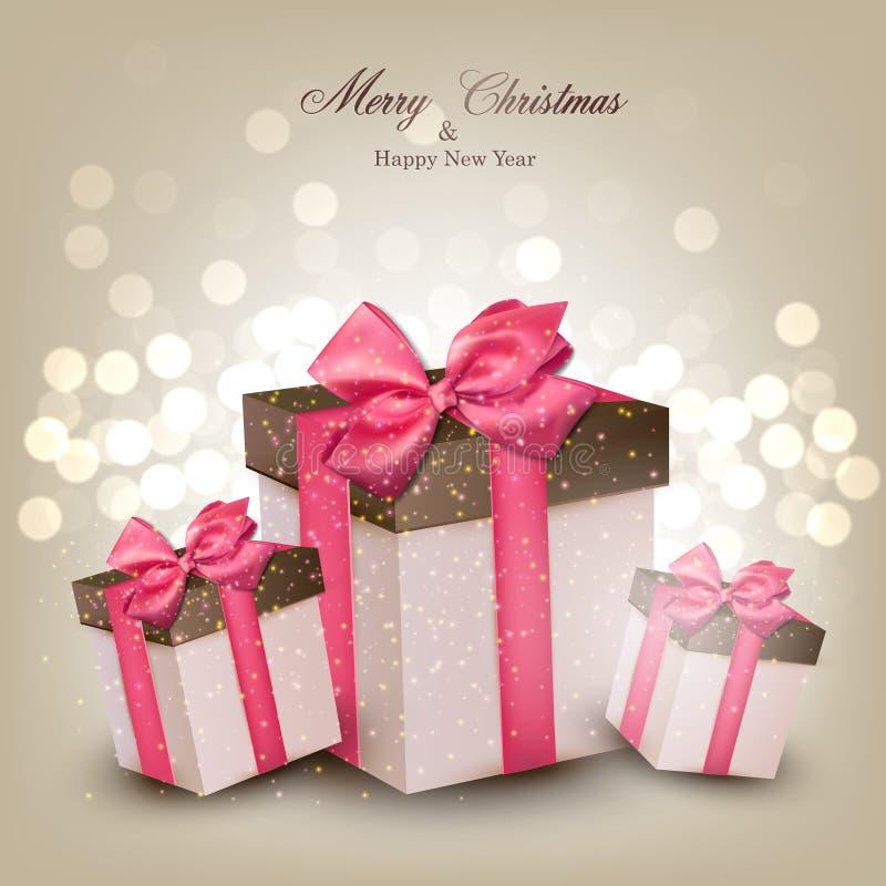 Fundo vibrante do Natal com caixas de presente. ilustração royalty free