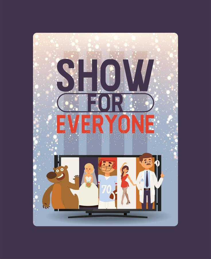 Fundo video da ilustração dos desenhos animados da produção do entretenimento do noticiário do canal de televisão do vetor  ilustração do vetor