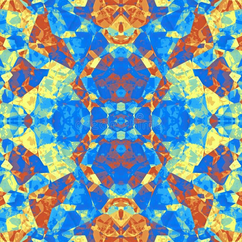 Fundo violeta azul sem emenda abstrato da textura dos desenhos animados da pedra da pintura do amarelo alaranjado ilustração royalty free