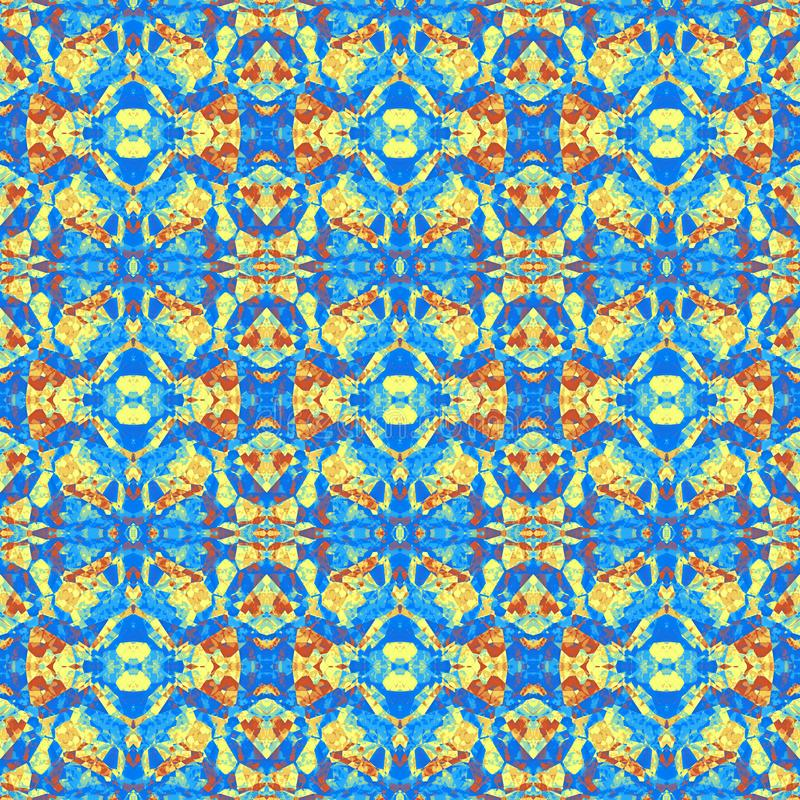 Fundo violeta azul sem emenda abstrato da textura dos desenhos animados da pedra da pintura do amarelo alaranjado ilustração stock
