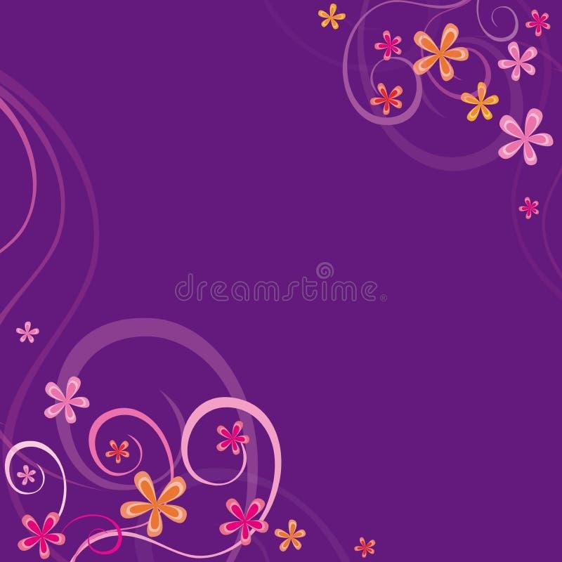 Fundo violeta com ornamento da mola ilustração stock