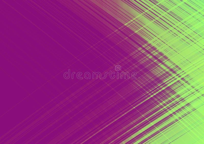 Fundo violeta e verde abstrato, conceito da velocidade e do flash, projeto para anunciar e molde, com espaço para a entrada de te ilustração stock