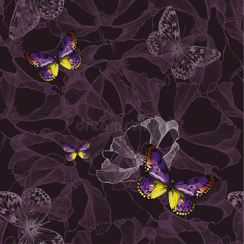 Fundo violeta floral sem emenda com borboletas Illus do vetor ilustração stock
