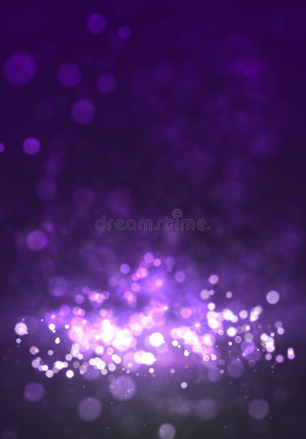 Fundo violeta mágico com bokeh e estrelas ilustração do vetor
