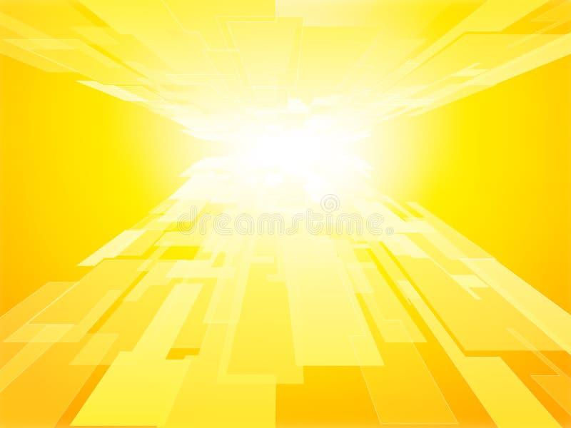 Fundo virtual do vetor do amarelo da tecnologia do conceito do negócio ilustração stock