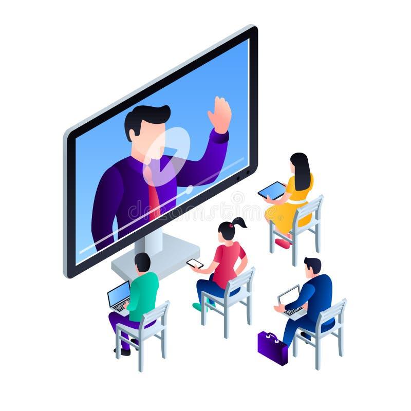 Fundo webinar video do conceito do computador, estilo isométrico ilustração stock