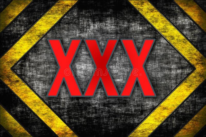 Fundo XXX do perigo. linhas de advertência, preto e amarelo. ilustração stock