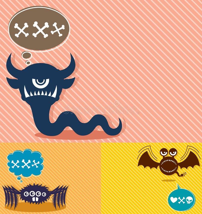 Fundos 4 do monstro ilustração do vetor