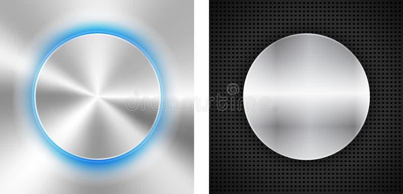 2 fundos abstratos com inserir metálico do círculo ilustração stock
