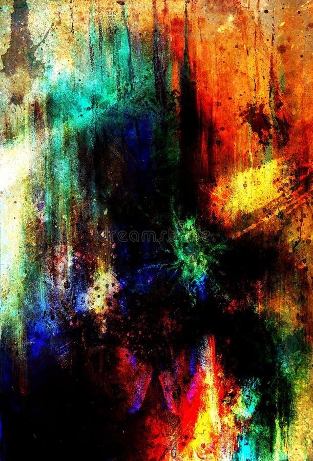 Fundos abstratos da cor, colagem de pintura com pontos, estrutura da oxidação ilustração do vetor