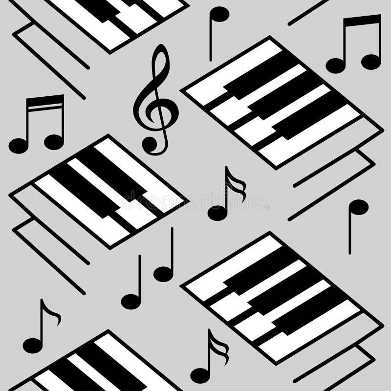 Fundos abstratos da música Chaves do piano e notas musicais ilustração stock