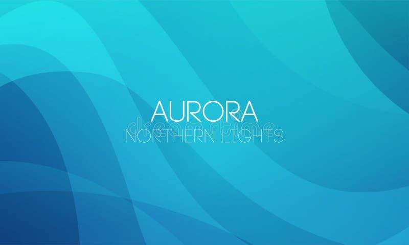 Fundos abstratos horizontais do vetor da aurora boreal, Aurora Borealis na cor azul ilustração royalty free