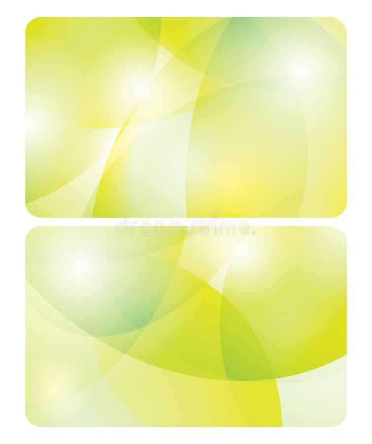 Fundos amarelos e verdes abstratos - cartões ilustração stock