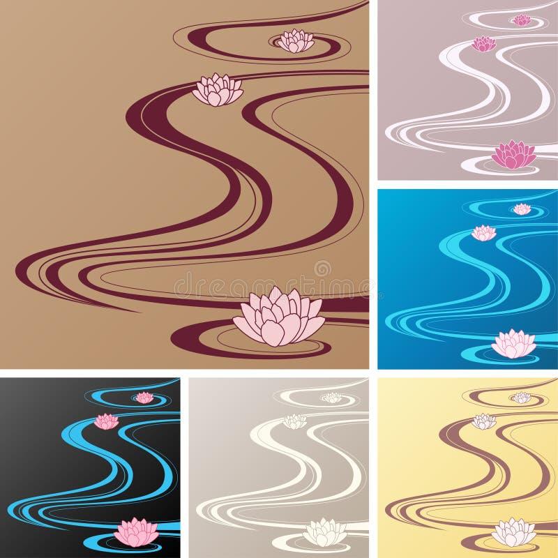 Fundos asiáticos com ondas orientais e lotuses ilustração do vetor