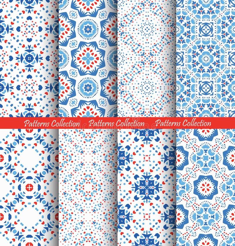 Fundos azuis de Boho dos testes padrões de flor ilustração do vetor