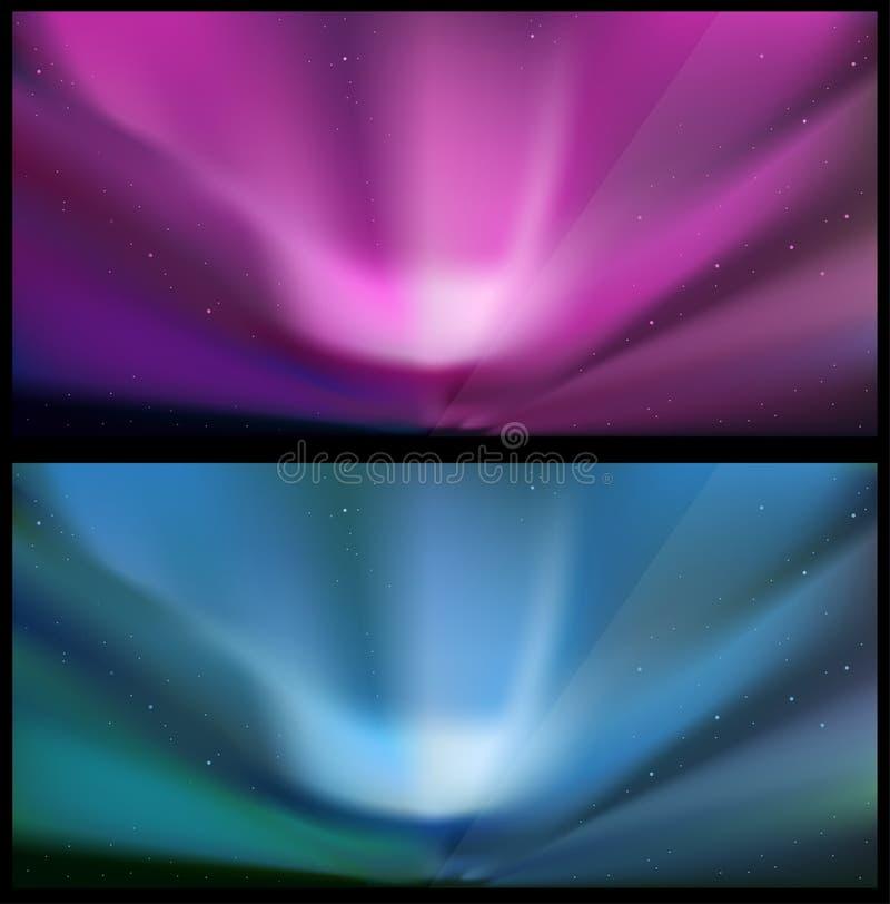 Fundos azuis do norte da Aurora. ilustração stock