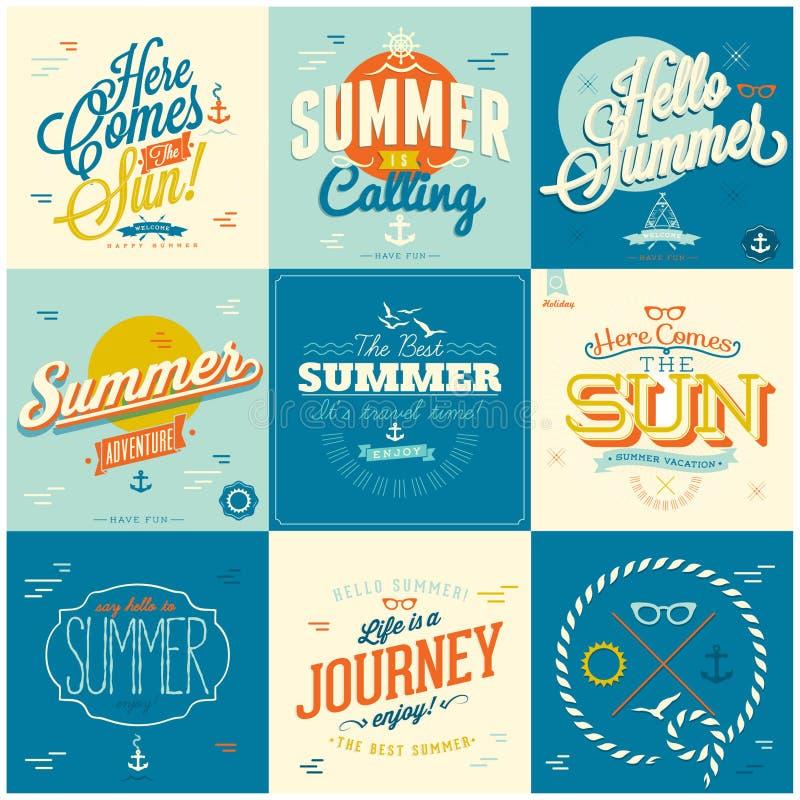 Fundos caligráficos dos projetos do verão ilustração stock