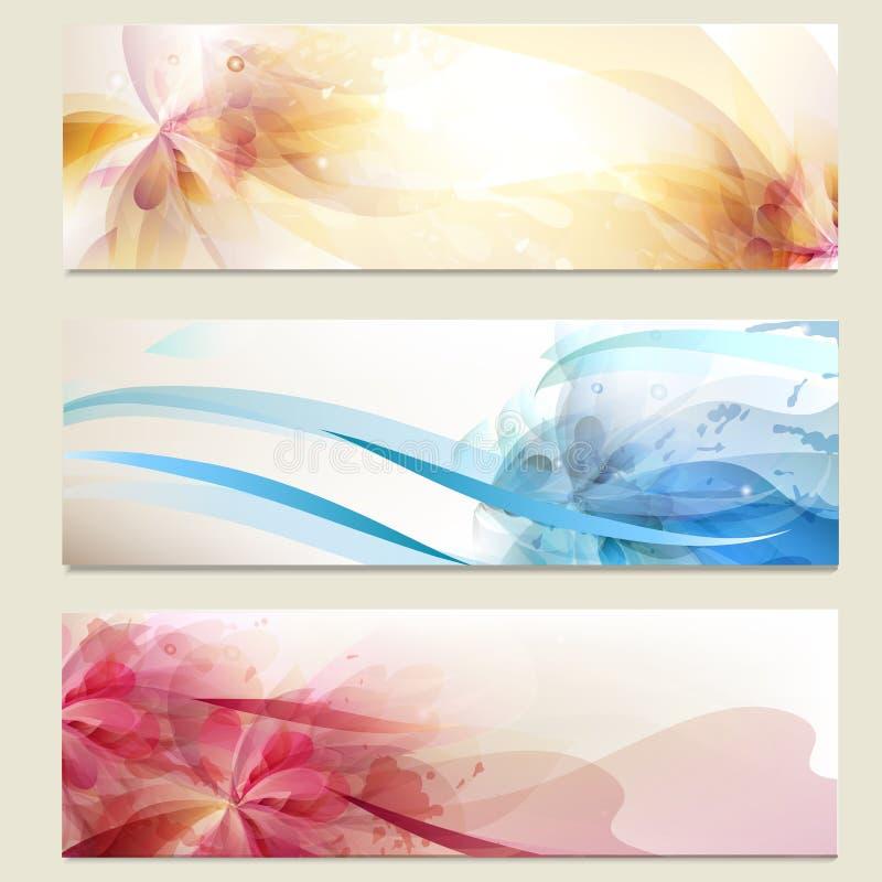 Fundos coloridos abstratos do vetor ajustados ilustração stock