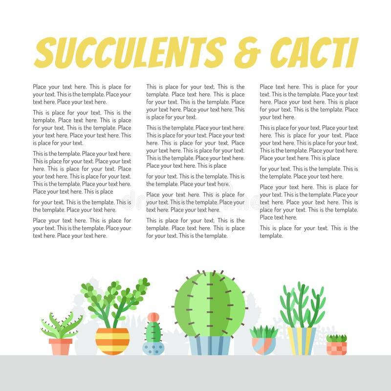 Fundos coloridos do vetor do estilo liso das plantas carnudas e dos cactos com lugar para seu texto Projeto de Minimalistic Parte ilustração do vetor