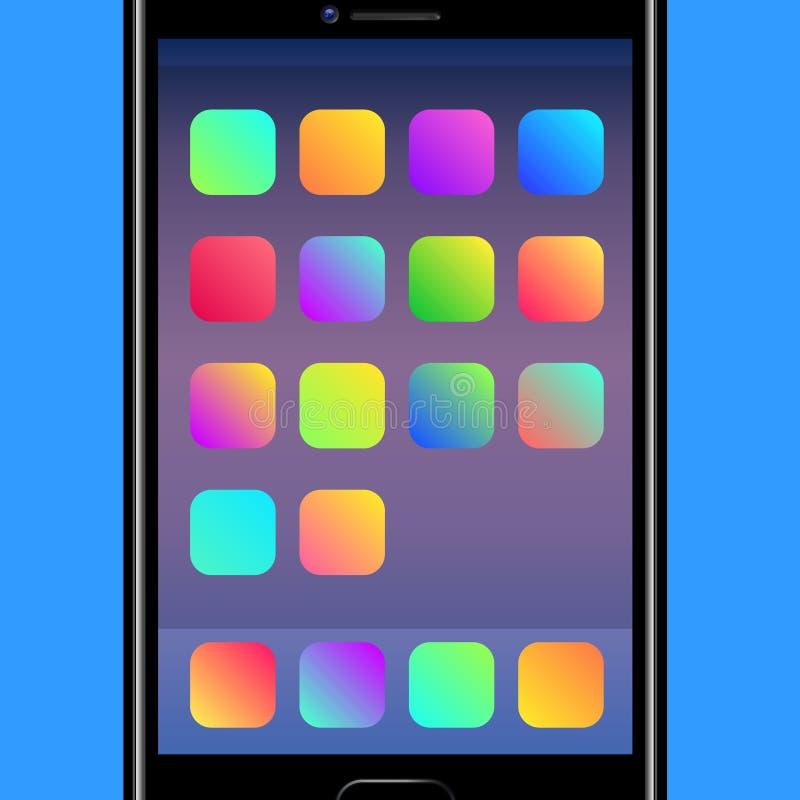 Fundos coloridos para ícones móveis da aplicação ilustração do vetor