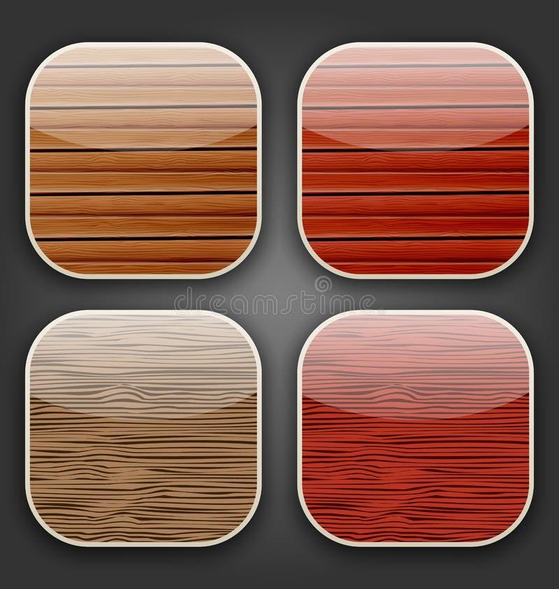 Fundos com textura de madeira para os ícones do app ilustração royalty free