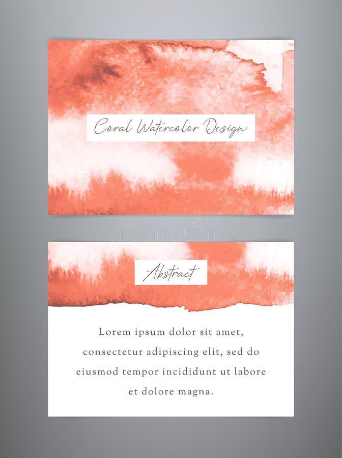 Fundos corais da aquarela Moldes modernos do neg?cio ilustração stock
