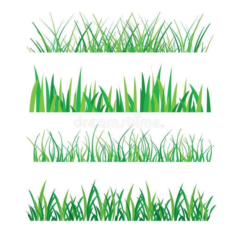 Fundos da grama verde isolados na ilustração branca do vetor ilustração stock