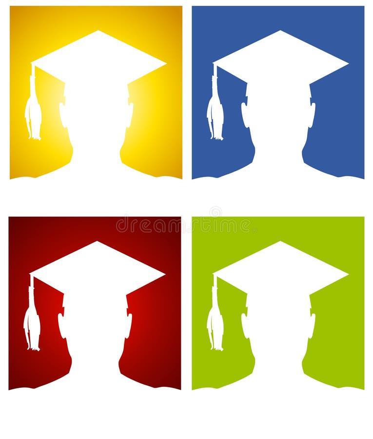 Fundos da silhueta do chapéu da graduação ilustração stock