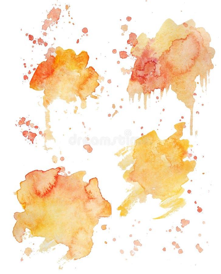 Fundos das manchas da pintura da aquarela das cores do arco-?ris ajustados A aquarela brilhante espirra ilustração royalty free