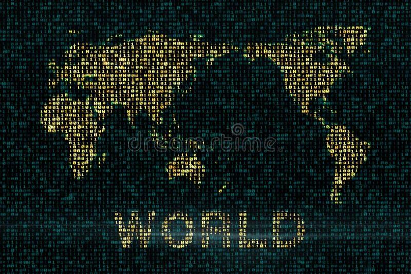 Fundos de Digitas com o mapa do mundo ilustração royalty free
