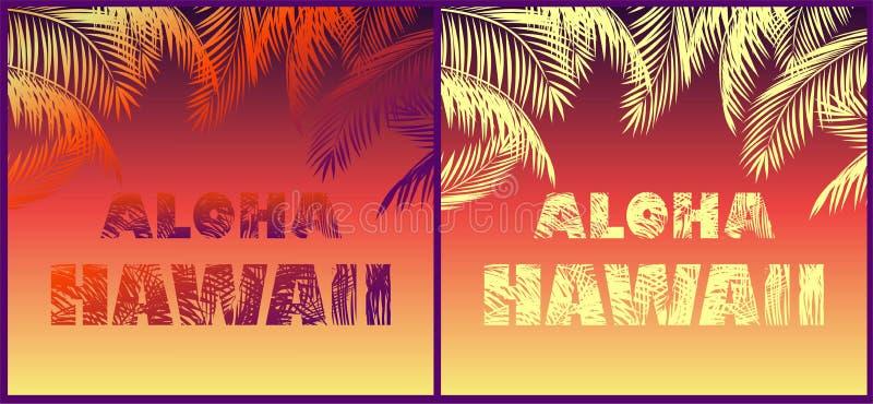 Fundos de néon tropicais com rotulação floral de Aloha Hawaii e silhuetas das folhas de palmeira para a camisa de t, o cartaz do  ilustração do vetor