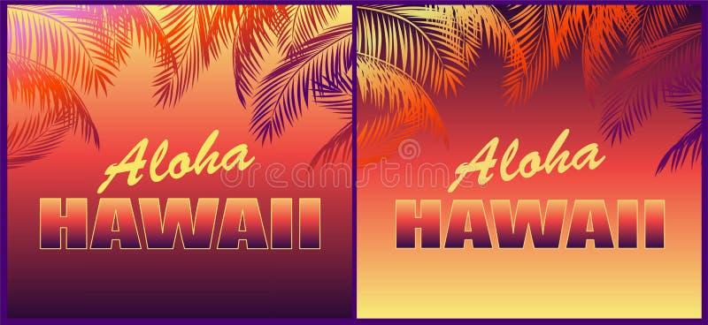 Fundos de néon tropicais com rotulação floral de Aloha Hawaii e silhuetas das folhas de palmeira para a camisa de t, os convites  ilustração stock