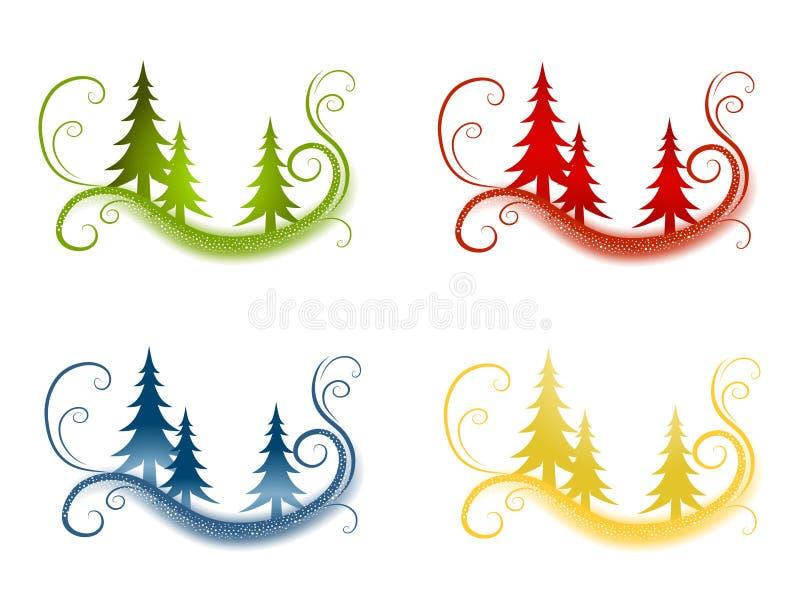 Fundos decorativos da árvore de Natal ilustração royalty free