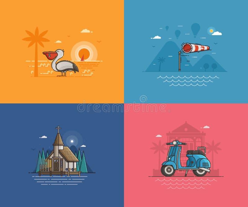 Fundos do beira-mar do verão ajustados ilustração royalty free