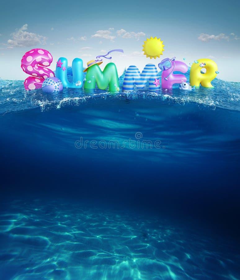 Fundos do curso O verão 3d rendeu a bandeira com texto 3D e bolas coloridas, peixes, flamingo e o sol no céu azul e nos vagabundo foto de stock