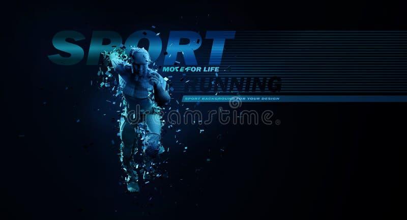 Fundos do esporte Conceito de um baixo homem de corrida poli 3d rendem do corredor geométrico em cores azuis imagens de stock