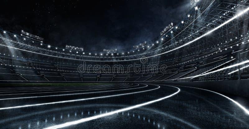 Fundos do esporte Estádio e pista de atletismo de futebol de incandescência de néon futurista Cena dram?tica 3d rendem os cilindr fotos de stock
