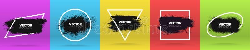 Fundos do Grunge ajustados Escove o curso preto da tinta da pintura sobre o vário quadro Ilustração do vetor ilustração stock