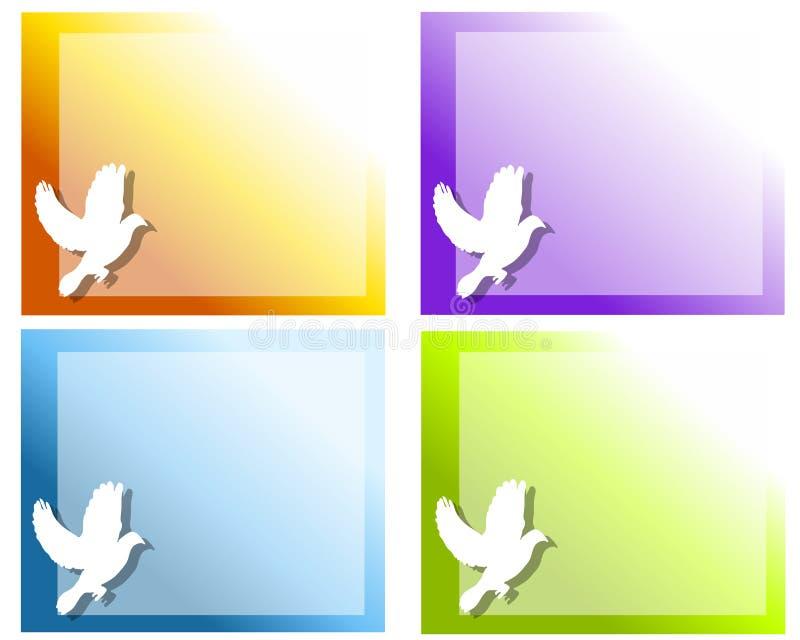 Fundos do vôo da pomba do branco ilustração royalty free