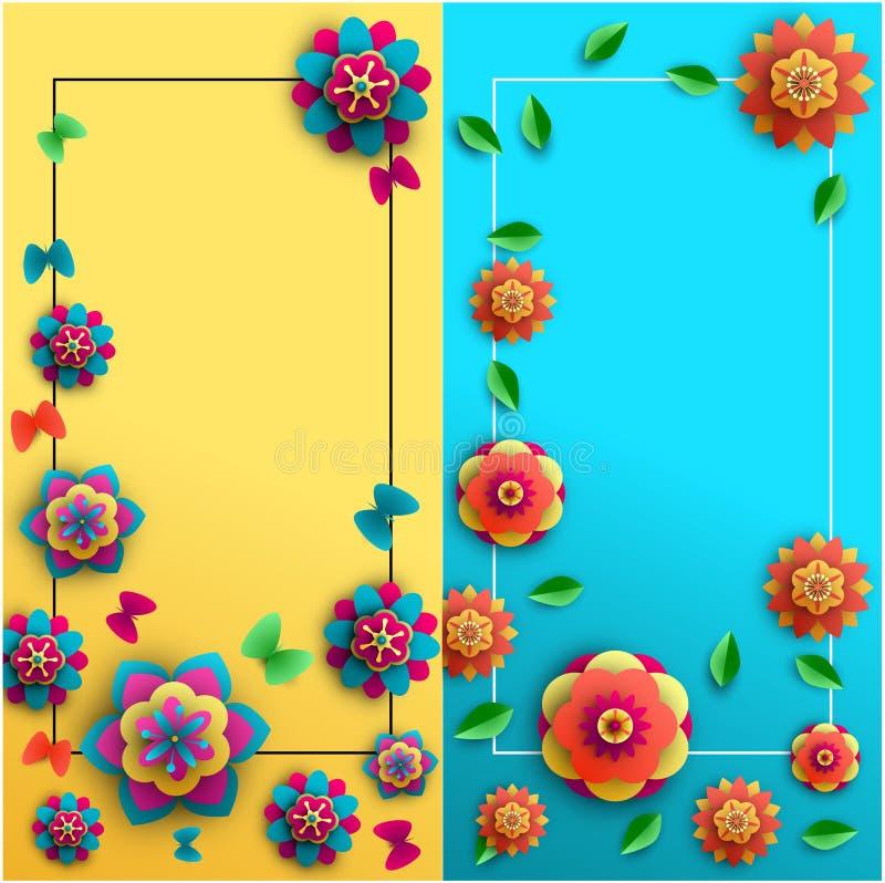 Fundos do verão com flores e as borboletas brilhantes ilustração stock