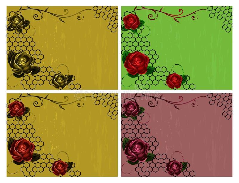Fundos do vintage das rosas ilustração royalty free