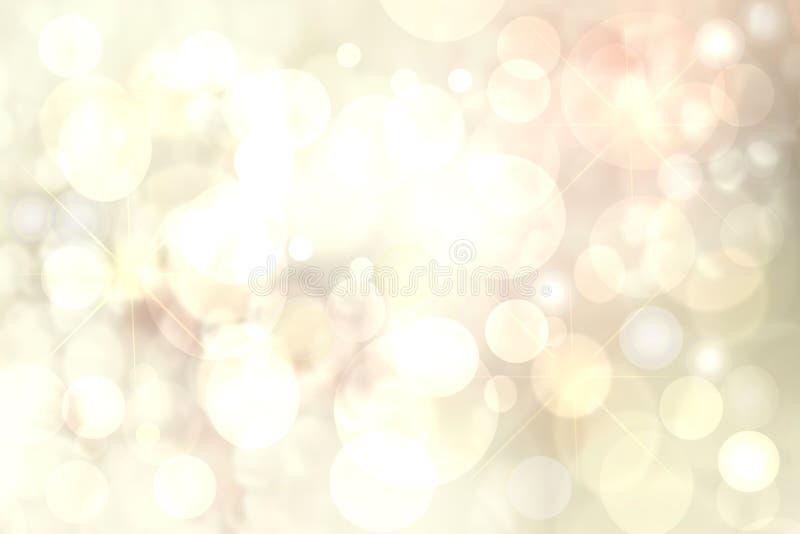 Fundos felizes do feriado Textura amarela dourada do fundo do bokeh da luz festiva bonito do sumário com luzes defocused Natal ilustração stock