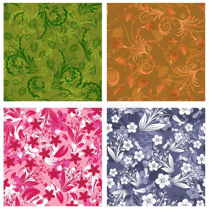 Download Fundos Florais Sem Emenda Ajustados Ilustração do Vetor - Ilustração de creativo, conceito: 12803262