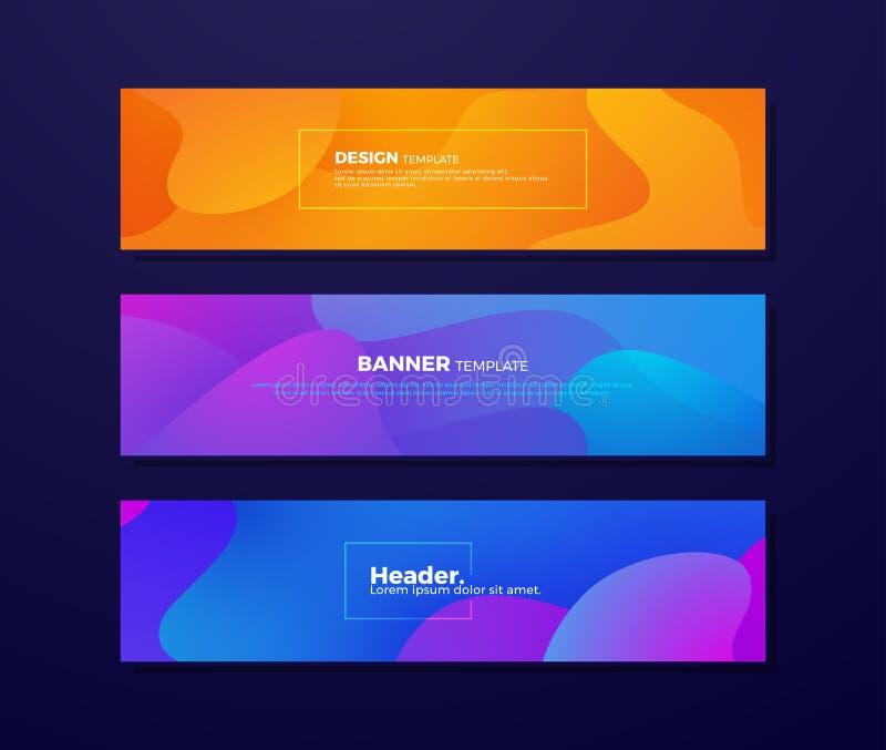 Fundos fluidos abstratos dinâmicos com conceitos diferentes e cores para seus elementos do projeto tais como bandeiras da Web, ca ilustração royalty free