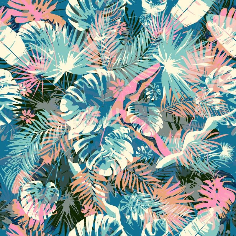 Fundos infinitos do verão exótico, teste padrão sem emenda colorido na moda criativo abstrato com teste padrão sem emenda da folh ilustração do vetor