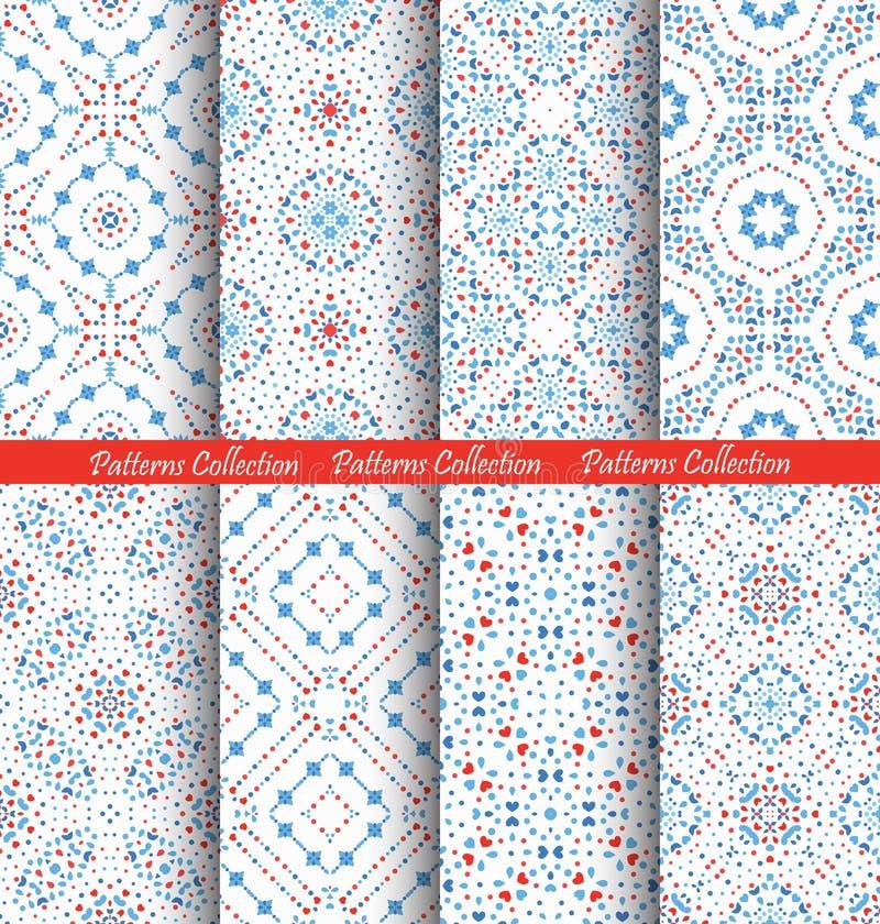 Fundos intrincados azuis dos testes padrões de flor ilustração stock