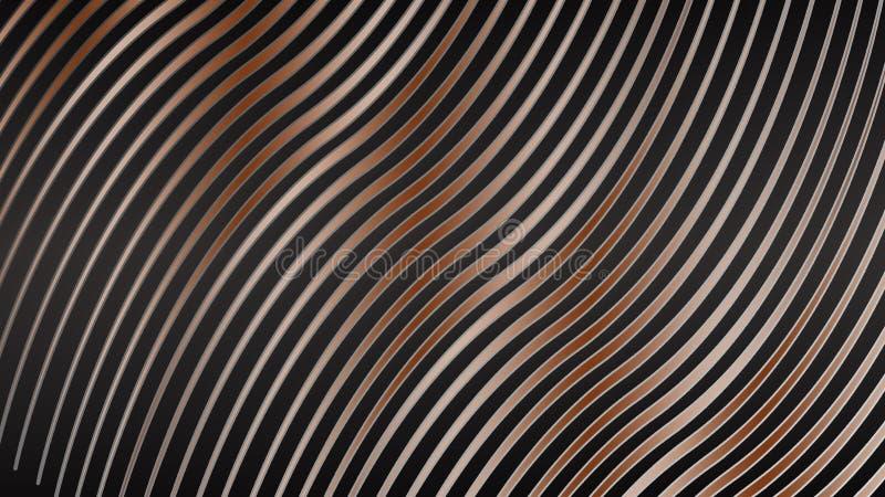 Fundos marrons abstratos Linhas geométricas no fundo preto Linha colorido contexto da onda foto de stock royalty free