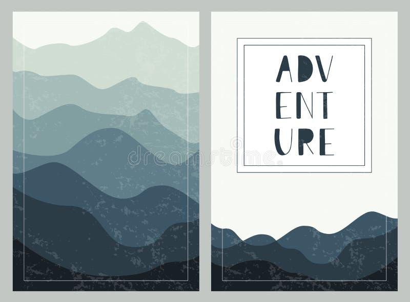 Fundos mergulhados das montanhas com rotulação tirada mão aventura Grupo de cartões exteriores ilustração stock