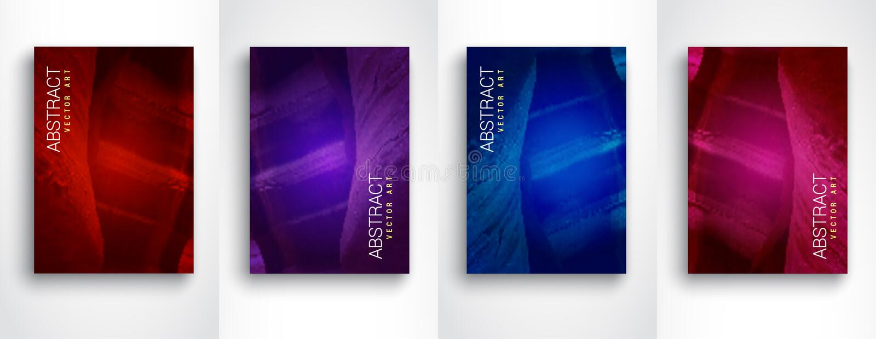 Fundos modernos abstratos Grupo colorido moderno do fluxo de molde do projeto de 4 vetores Tamanho A4 ilustração do vetor