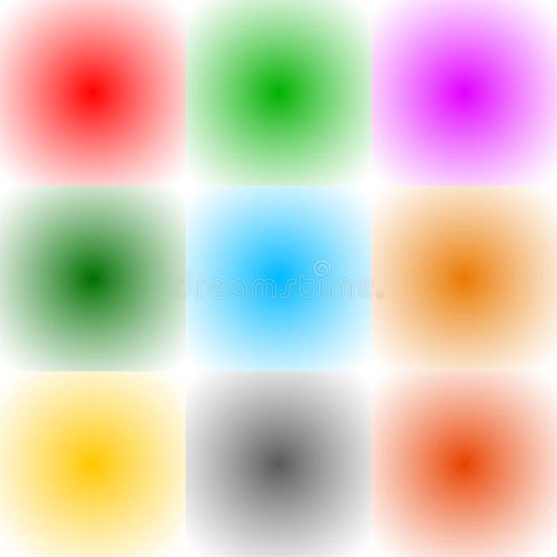 9 fundos quadrados monocromáticos do formato do inclinação radial/backdro ilustração stock